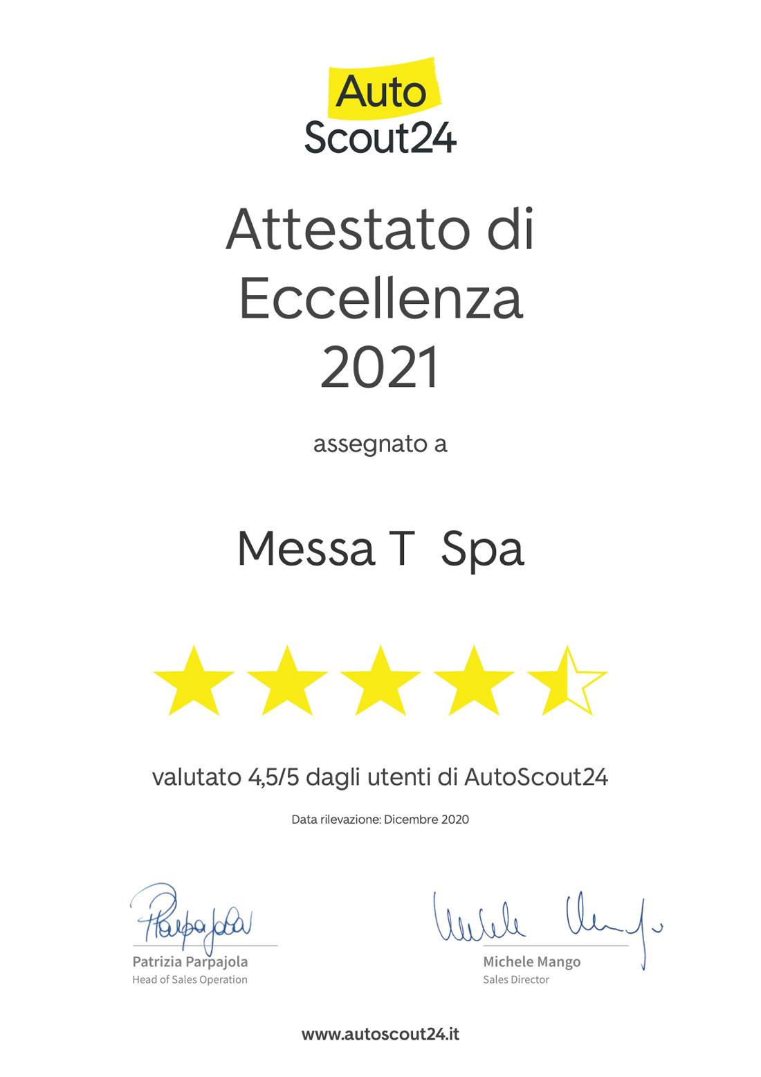 Attestato di Eccellenza 2021 AutoScout24 | Concessionaria Messa T